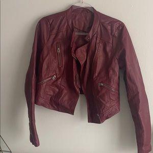 Burgundy Faux Leather Crop Jacket